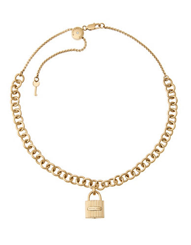 Michael Kors Padlock Pendant Chain Choker Necklace-GOLD-One Size