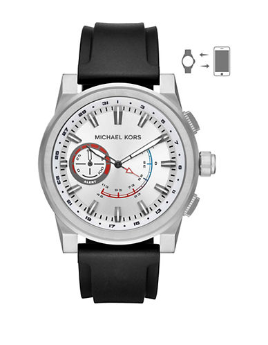 Michael Kors Grayson Hybrid Smartwatch Stainless Steel Silicone Strap Watch-SILVER-One Size
