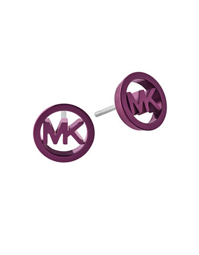 Michael Kors Logo Stud Earrings-PURPLE-One Size