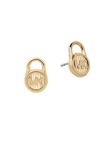 Michael Kors Logo Stud Earrings-GOLD-One Size