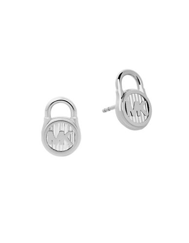 Michael Kors Logo Stud Earrings-SILVER-One Size