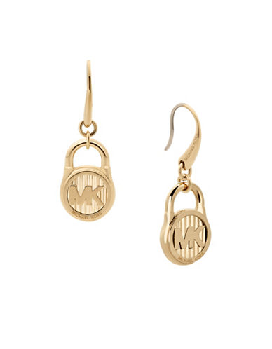 Michael Kors Logo Drop Earrings-GOLD-One Size