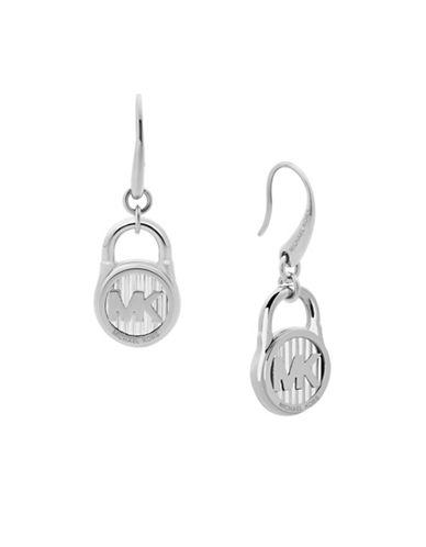 Michael Kors Logo Drop Earrings-SILVER-One Size