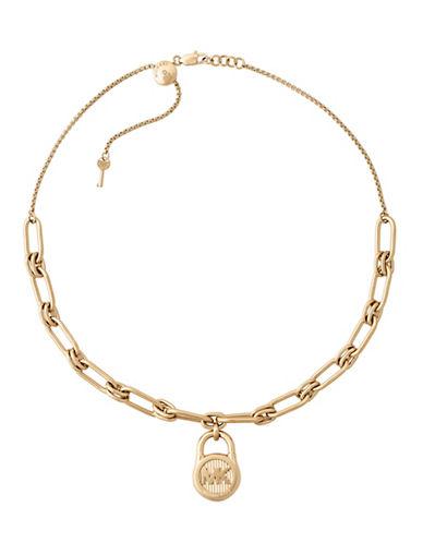 Michael Kors Padlock Pendant Choker Necklace-GOLD-One Size