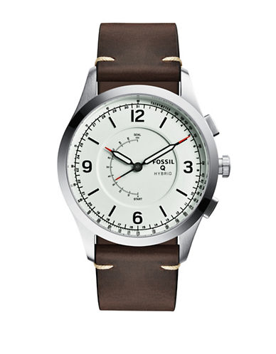 Fossil 1205 Leather Strap Hybrid Smartwatch-SILVER-One Size