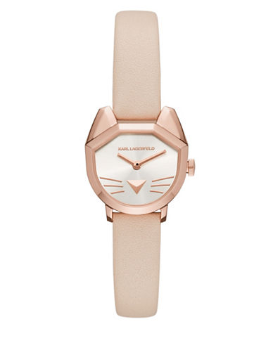 Karl Lagerfeld Paris Choupette Rose Goldtone Leather Strap Watch-BROWN-One Size