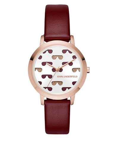 Karl Lagerfeld Paris Camille Rose-Goldtone Leather Strap Watch-RED-One Size