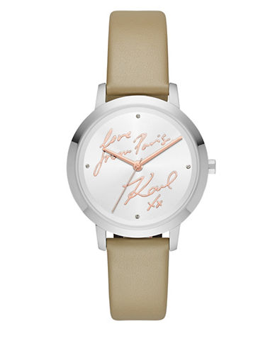Karl Lagerfeld Paris Camille Stainless-Steel and Leather Strap Watch-GREY-One Size