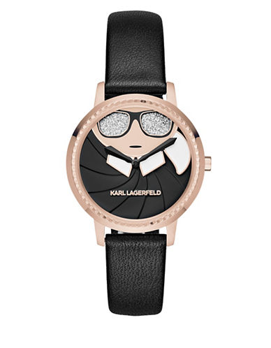 Karl Lagerfeld Paris Camille Stainless Steel Bracelet Watch-BLACK-One Size
