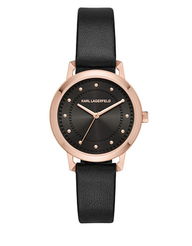 Karl Lagerfeld Paris Vanessa Rose Goldtone Leather Strap Watch-BLACK-One Size