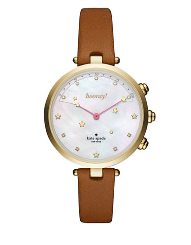 Kate Spade New York Holland Slim Luggage Strap Hybrid Smartwatch-BROWN-One Size