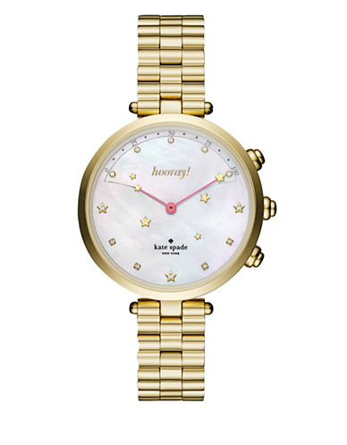 Kate Spade New York Holland Slim Goldtone Bracelet Hybrid Smartwatch-GOLD-One Size