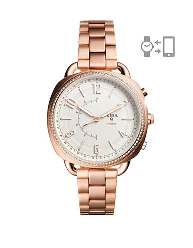 Fossil 1208 Stainless Steel Bracelet Hybrid Smartwatch-ROSE GOLD-One Size