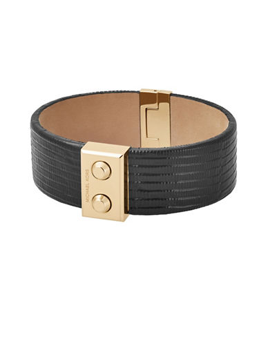 Michael Kors Leather Bangle Bracelet-GOLD-One Size
