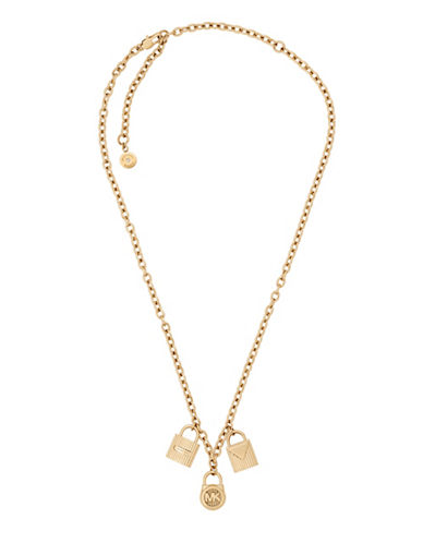 Michael Kors Padlock Pendant Chain Necklace-GOLD-One Size