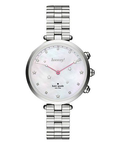 Kate Spade New York Holland Slim Silvertone Bracelet Hybrid Smartwatch-SILVER-One Size