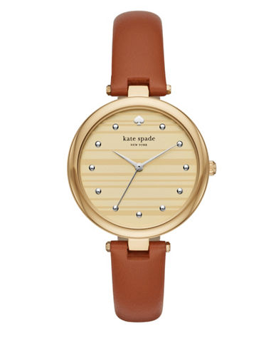 Kate Spade New York Goldtone Leather Varick Watch-BROWN-One Size