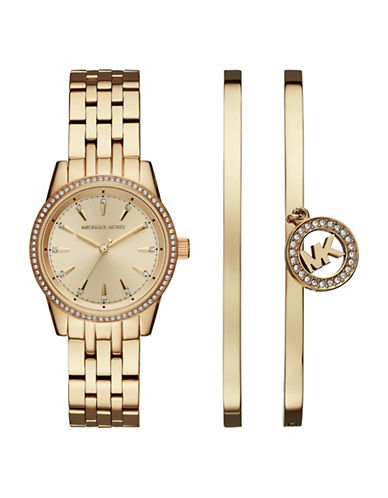 Michael Kors Ritz Gold-Tone Watch and Bangle Set-GOLD-One Size