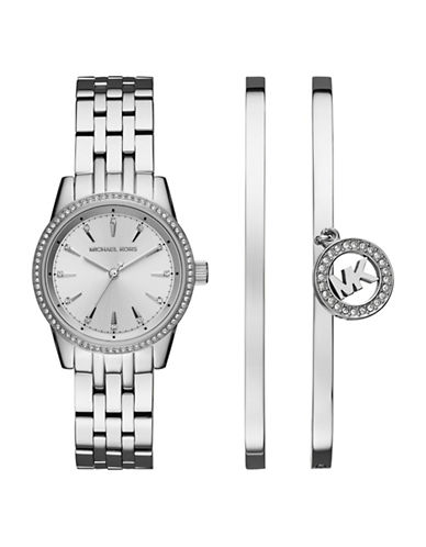 Michael Kors Ritz Stainless Steel Watch and Bangle Set-SILVER-One Size