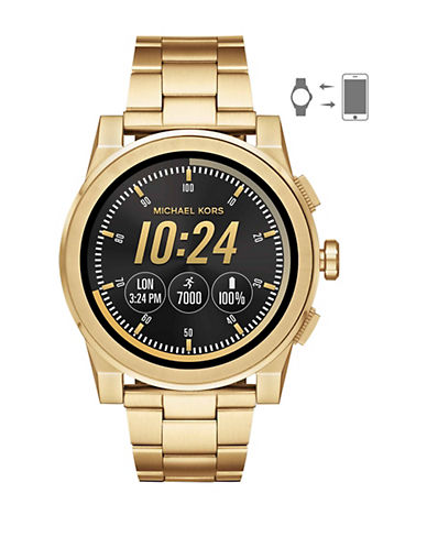 Michael Kors Grayson Touchscreen Smartwatch Goldtone Stainless Steel Link Bracelet Watch-GOLD-One Size