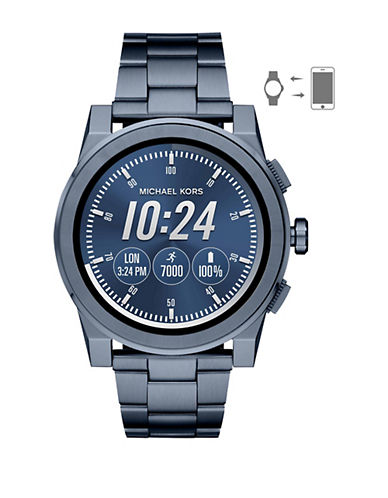 Michael Kors Grayson Touchscreen Smartwatch Blue IP Stainless Steel Link Bracelet Watch-BLUE-One Size