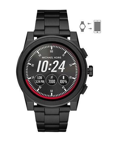 Michael Kors Grayson Touchscreen Smartwatch Black IP Stainless Steel Link Bracelet Watch-BLACK-One Size