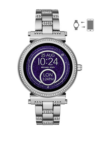 Michael Kors Sofie Touchscreen Smartwatch Crystal Pave Stainless Steel Watch-SILVER-One Size