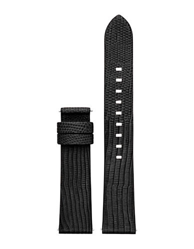 Michael Kors Sofie Embossed Lizard Leather Watch Strap-BLACK-One Size