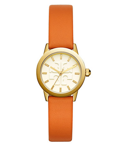 Tory Burch The Gigi Lilium Orange Leather Gold-Tone Watch-MULTI-One Size