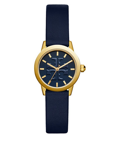 Tory Burch The Gigi Navy Leather Gold-Tone Watch-MULTI PINK-One Size