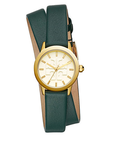 Tory Burch The Gigi Valley Forge Green Leather Gold-Tone Watch-MULTI-One Size
