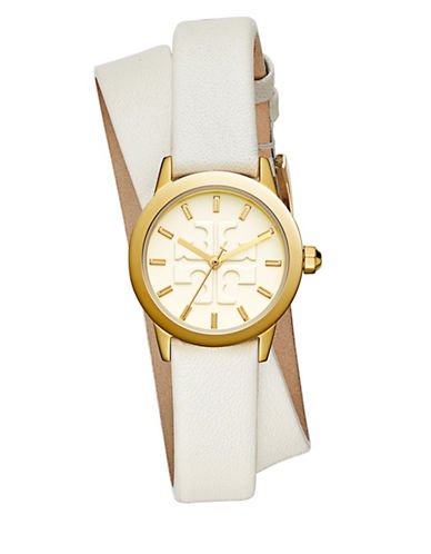 Tory Burch The Gigi Ivory Leather Gold-Tone Watch-MULTI-One Size
