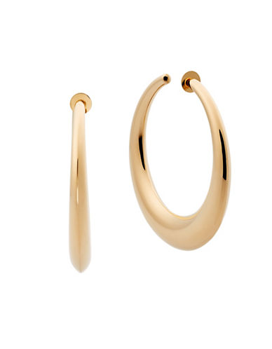 Michael Kors Crystal Runway Hoop Earrings-GOLD-One Size