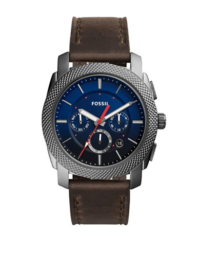 Fossil Machine Chronograph Grey Stainless Steel Brown Leather Strap Watch-BLUE-One Size