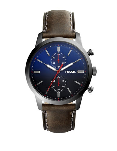 Fossil Townsman Chronograph Stainless Steel Leather Strap Watch-SILVER-One Size