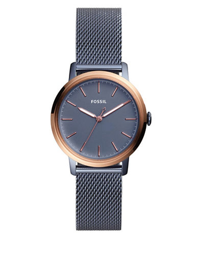 Fossil Neely Three-Hand Blue Stainless Steel Mesh Bracelet Watch-BLUE-One Size