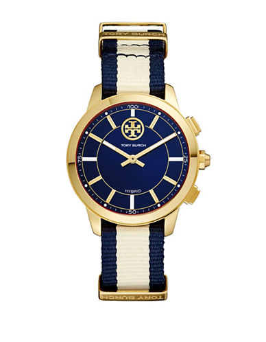 Tory Burch ToryTrack Collins Hybrid Striped Band Smartwatch-MULTI-One Size