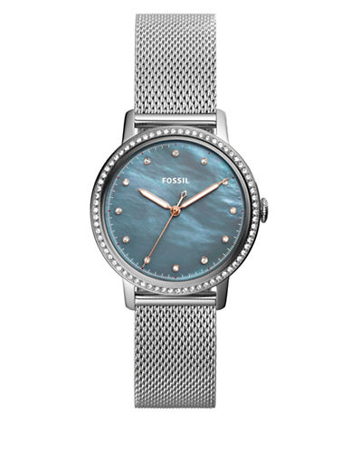 Fossil Neely Mother-of-Pearl Stainless Steel Mesh Bracelet Watch-SILVER-One Size