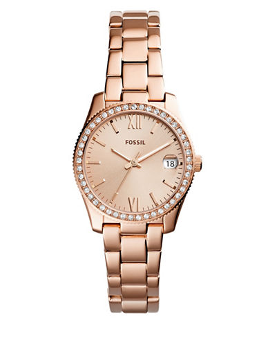 Fossil Scarlette Rose Goldtone Stainless Steel Link Bracelet Watch-ROSE GOLD-One Size