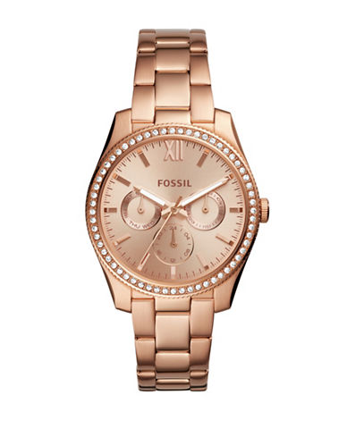 Fossil Multifunction Scarlett Rose Goldtone Stainless Steel Link Bracelet Watch-ROSE GOLD-One Size