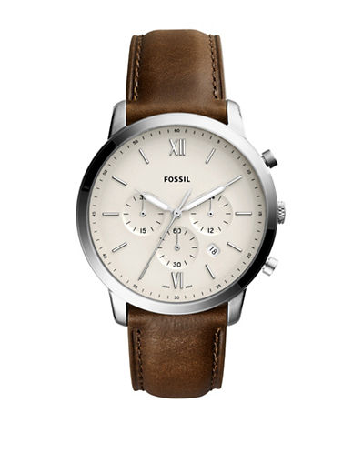 Fossil Neutra Chronograph Stainless Steel Brown Leather Strap Watch-BROWN-One Size