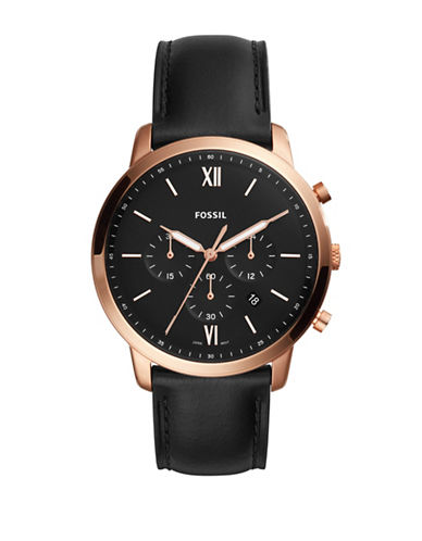 Fossil Neutra Chronograph Rose Goldtone Stainless Steel Black Leather Strap Watch-BLACK-One Size
