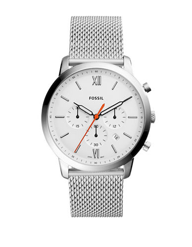 Fossil Neutra Chronograph Stainless Steel Mesh Bracelet Watch-SILVER-One Size