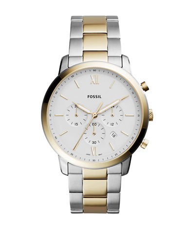 Fossil Neutra Chronograph Two-Tone Stainless Steel Link Bracelet Watch-SILVER-One Size