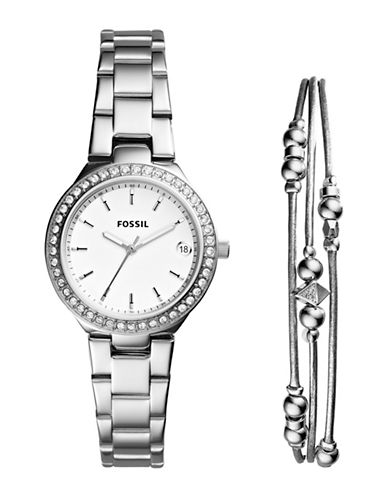 Fossil Blane Stainless Steel Watch and Jewelry Two-Piece Gift Set-SILVER-One Size
