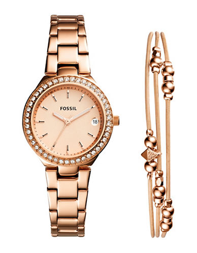 Fossil Blane Rose Goldtone Stainless Steel Watch and Jewelry Two-Piece Gift Set-ROSE GOLD-One Size
