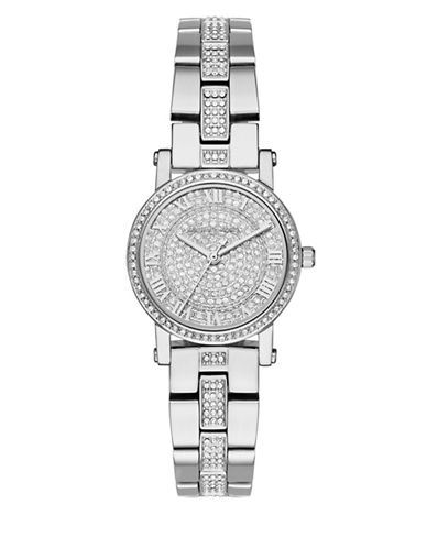 Michael Kors Petite Norie Stainless Steel and Pavé Watch-SILVER-One Size