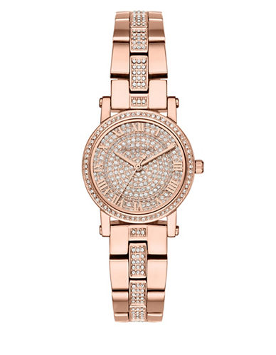 Michael Kors Petite Norie Rose Goldtone Stainless Steel and Pavé Watch-ROSE GOLD-One Size