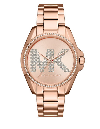 Michael Kors Bradshaw Rose Goldtone Stainless Steel Link Bracelet Watch-ROSE GOLD-One Size