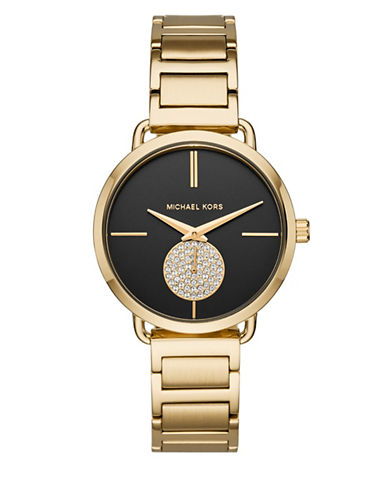 Michael Kors Portia Goldtone Stainless Steel Link Bracelet Watch-GOLD-One Size